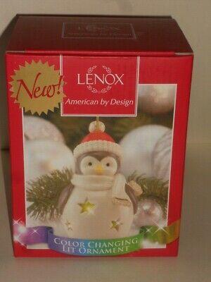Lenox Penguin Ceramic Ornament Christmas Tree Light Up Color Changing NIB