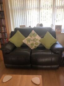 Brown 2 and 3 seater leather reclining sofas