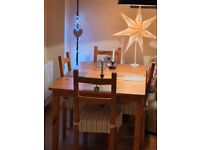 Wooden Ikea Extendable Dining Table & 4 Chairs