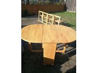 4 Seater Dining Table and Chairs - Foldaway storage - wooden