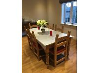 Pine dining table with 6 chairs 180x90cm