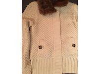 White Cardigan With Faux Fur Collar Size S