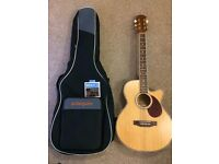Freshman FA1AM Folk Cutaway Electro Acoustic Guitar and gig bag