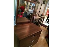 Solid heavy chest of drawers with mirror