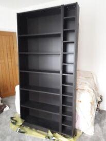 IKEA , black/brown wood effect, bookshelf, CD storage unit, occasional tables x 2