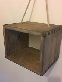 Vintage look, Wooden hanging cube/box shelf - new