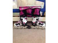 Girls inline skates with protective guards