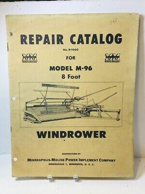 Original Minneapolis Moline Model M-96 8 Foot Windrower Repair Catalog