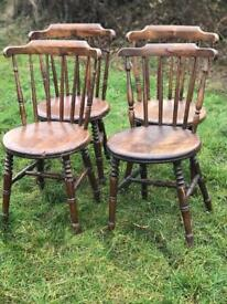 Four beautiful antique elm dining chairs