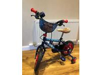 Spider-Man bike with stabilisers suitable for 2-4year old