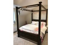 Walnut 4 poster double bed frame