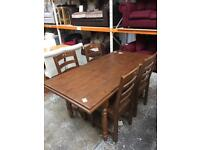 Reclaimed wood table with 4 x chairs. New