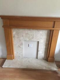 Fireplace surround marble back and hearth