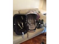 Icandy Peach 2 inc carrycot, maxi-cosi car seat with pram adapters