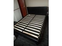 Black leather king size bed frame (DELIVERY AVAILABLE)