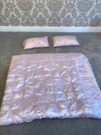 Pink satin double bedspread and cushions
