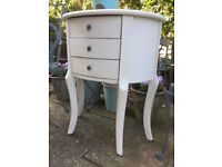 Pretty French style 3 draw Bedside Table/Hall Lounge Table length 65cms depth 31cms height 77cms