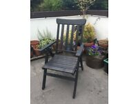 Reclining wooden armchair, foldable, black stain, IKEA Angso