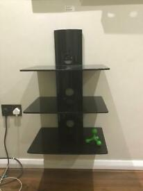 Cantilever Tv wall mount and 3 tier shelve
