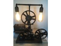 Antique Pathescope Projector Large Steampunk Lamp Edison Bulbs One Of A kind Piece -- CAN DELIVER --