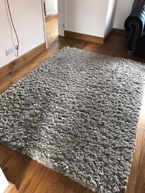 Silver grey top quality plush fluffy rug