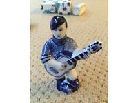 Russian Hand Painted Porcelain - Gzhel Guitar Player