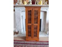 TEAK WOOD & GLASS CD OR COLLECTIBLES DISPLAY CABINET