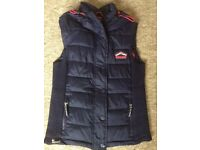 Superdry navy and pink zip-up hood gilet size M