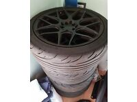 """18"""" 8.5J ET35 5x100/120 Wheels in perfect condition with NS2R semi-slicks."""