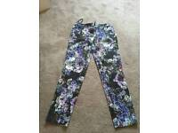 RIVER ISLAND Ladies floral work party trousers Size 8