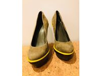 Khaki Suede Carvela Court Shoes with Wooden Block Heels and Neon Yellow Trim - UK 6/39