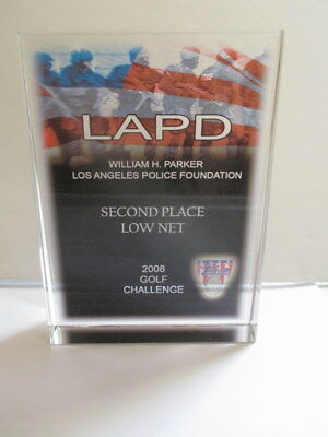 LAPD LOS ANGELES POLICE DEPT GOLF CHALLENGE GLASS AWARD PLAQUE TROPHY 2ND PLACE