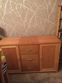 Solid oak lamp table and sideboard
