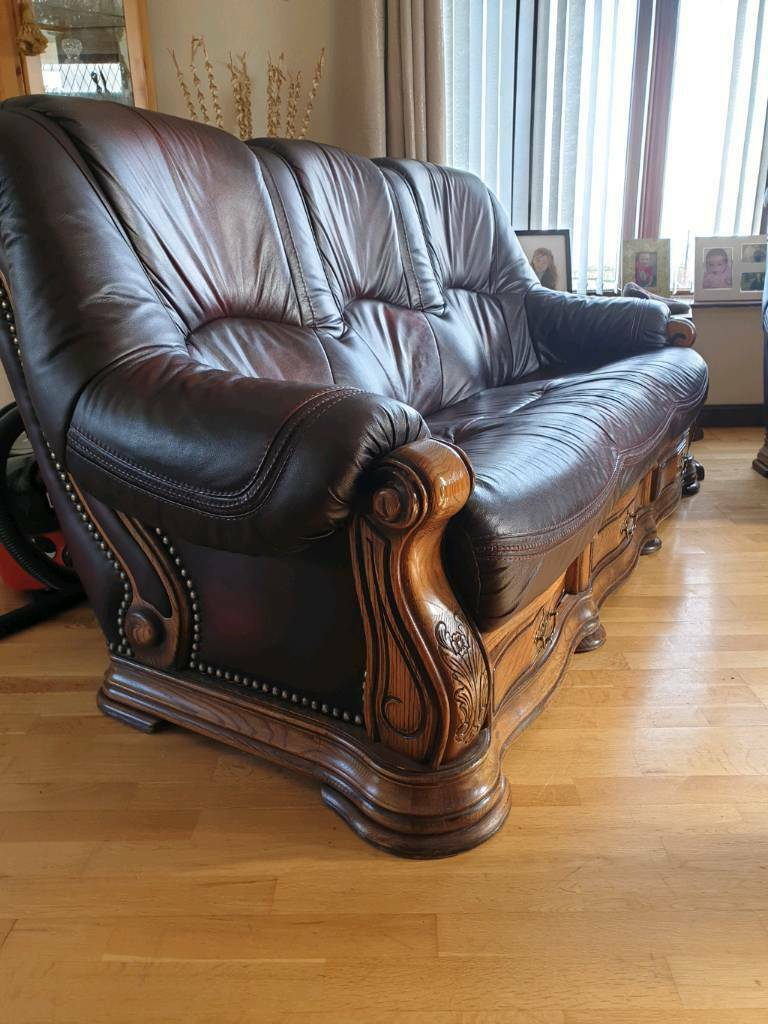 Pleasing Leather And Wood Sofa Set In Newry County Down Gumtree Creativecarmelina Interior Chair Design Creativecarmelinacom