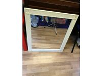Mirror with cream wooden boarder - excellent condition approx 70cm x 80cm