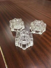 Piano casters antique set of three clear glass