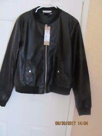 New Ladies Leather Look PVC Bomber Jacket