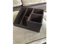 Leather effect large desk office tidy for stationery