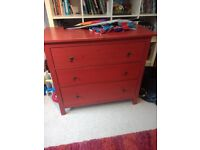 Ikea Hemnes Chalky Red Chest of Drawers