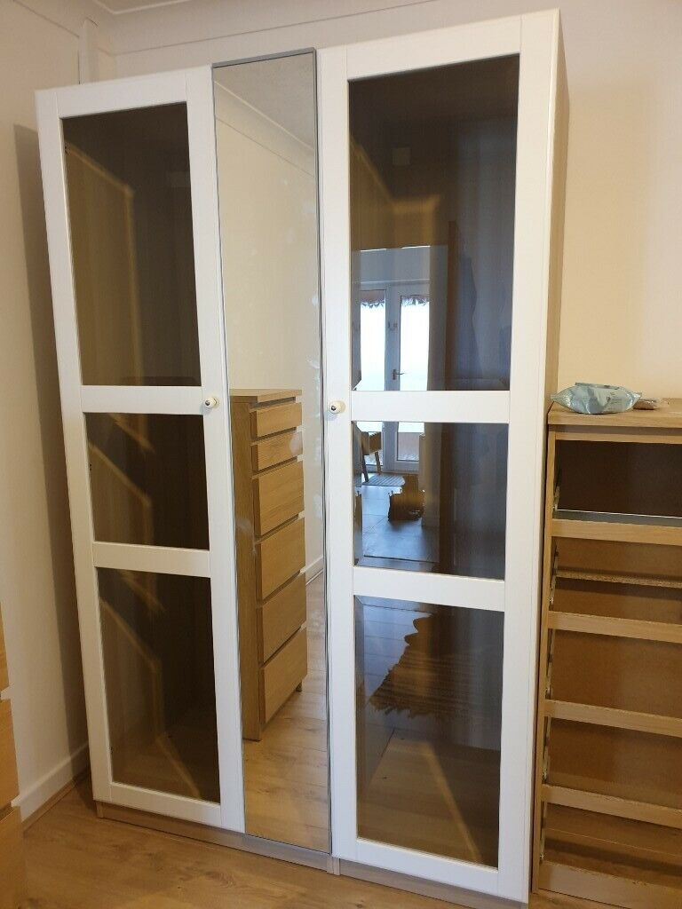 Wspaniały Ikea Pax Tyssedal White Wood and Glass Wardrobe Doors x 4 195 x QB89