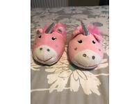GIRLS UNICORN SLIPPERS, SIZE 11/12 BRAND NEW £5