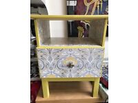 Bedside Table unique piece upcycled decoupage solid wood furniture