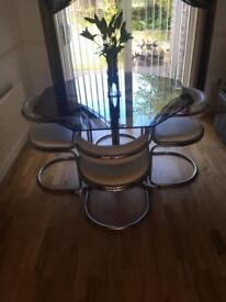 Glass dining table and 4 chairs 1970's
