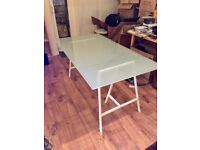 Ikea Toughened Glass office or Dining Table with white trestles £60