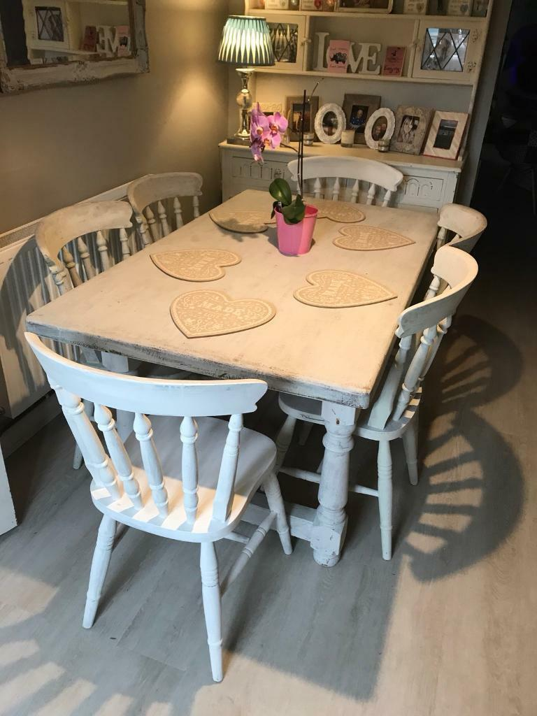 Large shabby chic farmhouse dining table and 6 chairs