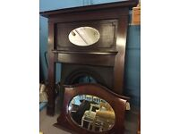 Totally original oak overmantle fireplace cast irone insert
