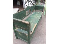 Large Old Pine Painted Bench