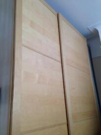 Ikea PAX high top double wardrobe with sliding doors