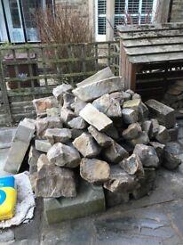 Reclaimed random sized walling sandstone