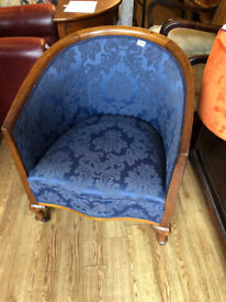 Tub Armchair , upholstered in blue . Good quality and condition £195